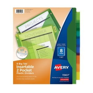 School Avery dividers with pockets